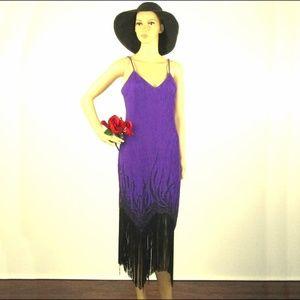 Joy Stevens California Purple Fringe Dress Size M